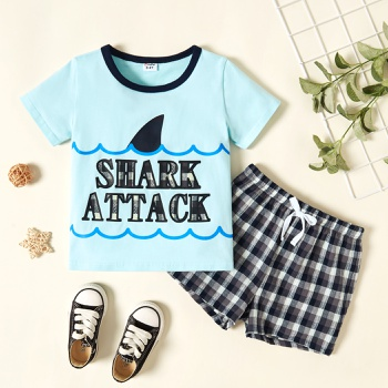 Toddler Boy Letter Print Plaid Set