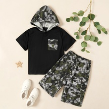 Kids Boy Hooded Camouflage Pocket Tee and Allover Shorts Set
