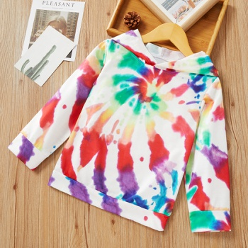 Toddler Colorful Tie-dye Hooded Long-sleeve Pullover