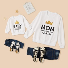 Crown Pattern Print White Cotton Sweatshirts for Mom and Me