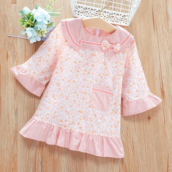 Baby / Toddler Bowknot Stars Print Flounced Long-sleeve Dress