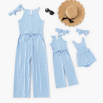 Striped Sleeveless Jumpsuits for Mommy-girl-baby