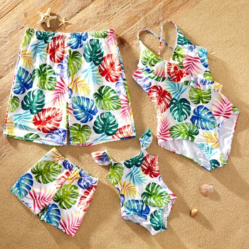 Family Look Colorful Leaf Print One-piece Matching Swimsuits