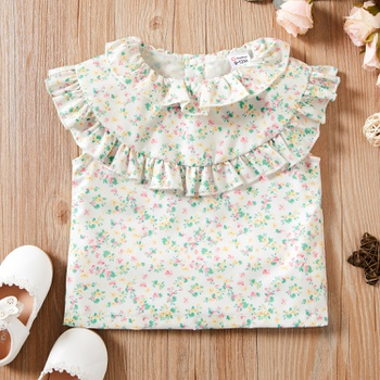 1pc Baby Girl Sweet Floral Shirt & Smock