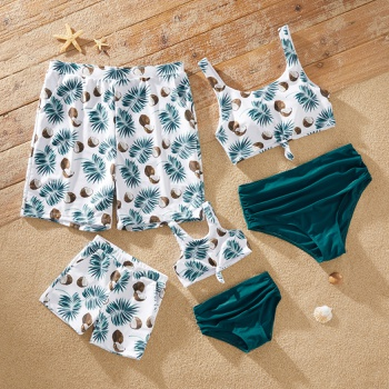 Coconut and Leaves Print Family Matching Swimsuits
