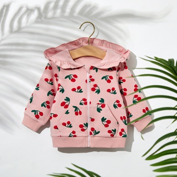 1pc Baby Girl Long-sleeve Cotton Hooded Sweet Cherry Coat & Jacket