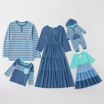 Mosaic Cotton Family Matching Blue Sets(Stripe Long Sleeve T-shirts - Hoodies Rompers - Solid Dresses)