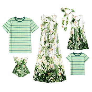 Mosaic Family Matching Plant Floral Series Sets(Tank Dresses - T-shirts - Rompers)