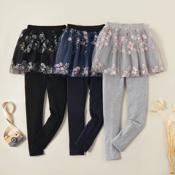 Beautiful Flower Embroidered Mesh Faux-two Skirtleggings