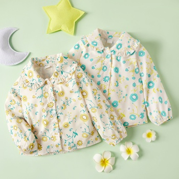 1pc Long-sleeve Baby Girl casual Floral Shirt & Smock