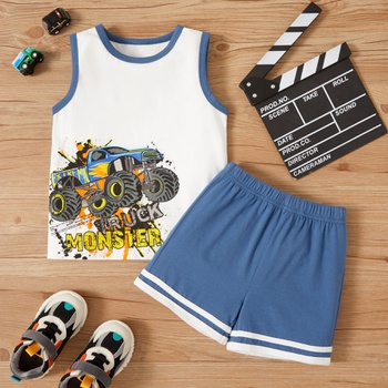 2-piece Toddler Boy Car Print Camisole and Shorts Set