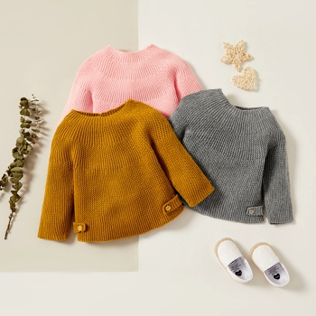 1pc Baby Unisex Long-sleeve Solid Retro Sweaters