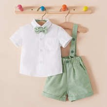 2pcs Baby Boy Party Costumes Solid Cotton Formal Tuxedos Pantie Romper