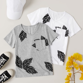 Fashionable Kid Boy Leaf Print T-shirt