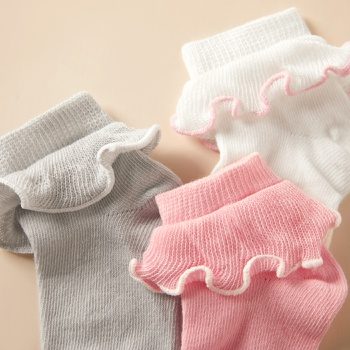 3-pack Baby / Toddler Solid Flounced Knitted Socks