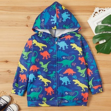 Toddler Boy Animal Dinosaur Allover Hooded Jacket