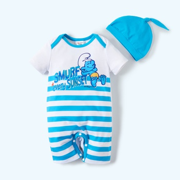 Smurfs Baby Boy 2-piece Stripe Bodysuit and Hat Sets