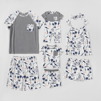 Family Shark and Coconut Tree Pattern Splice Raglan Sleeves Matching Pajamas Set(Flame Resistant)