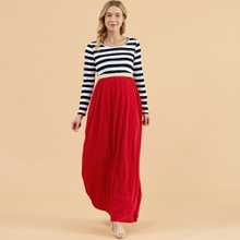 Maternity Round collar Stripes full print Color block Maxi A Long-sleeve Dress