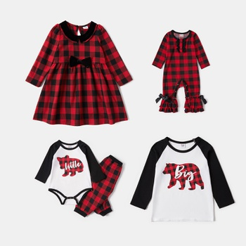 Mosaic Plaid Bowknot Dresses Flounced Romper Cotton Bear Top Sibling Christmas Set