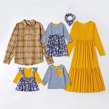 Mosaic Family Matching Sets in Autumn(V-neck Solid Dresses - Plaid Shirts - Long Sleeve T-shirts)