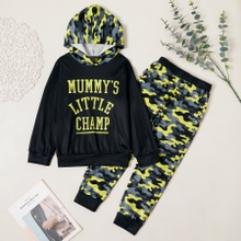Stylish Letter Print Camouflage Hooded Sweatshirt and Pants Set