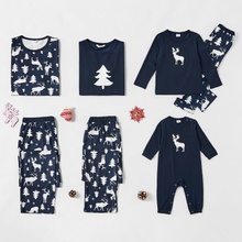 Family Matching Reindeer Christmas Tree Print Pajamas Sets (Flame resistant)