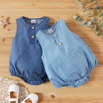 1pc Baby Girl casual Solid  Rompers & Bodysuits