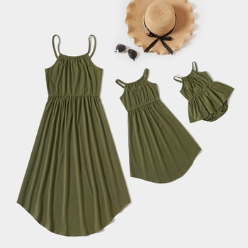 Solid Irregular Hem Tank Dresses for Mommy and Me
