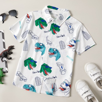 Trendy Kid Boy Dinosaur Print Shirt & Blouse