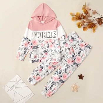Trendy Letter Rose Allover Print Hooded Sweatshirt and Pants Set