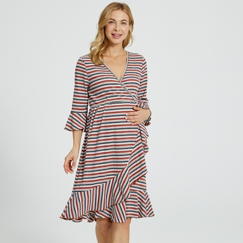 Maternity V-neck Stripes full print Cameo brown Normal A Long-sleeve Nursing Dress