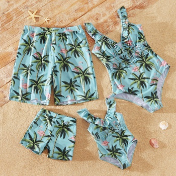 Coconut Tree and Flamingo Print Ruffled V Neck One-piece Family Matching Swimsuits