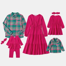 Mosaic 100% Cotton Family Matching Pink and Green Sets(V-neck Dresses - Plaid Button Front Shirts - Rompers)