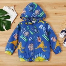 Toddler Cartoon Space Dinosaur Print Long-sleeve Hooded Coat