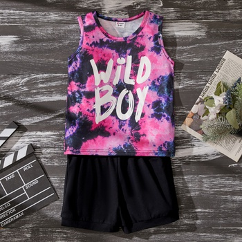 Baby / Toddler Boy Fashionable Tie-dye Letter Vest and Shorts Set