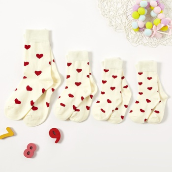Heart Pattern Printed Solid Socks for Family
