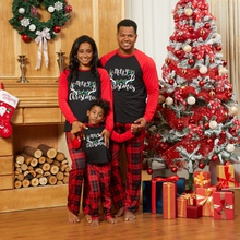 Merry Christmas Antler Print Red and Black Family Matching Pajamas Sets (Flame resistant)