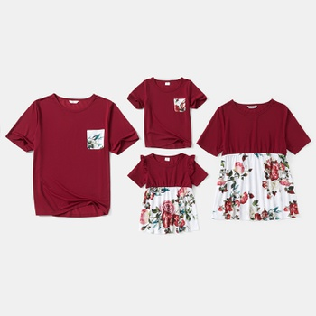 Floral Print Family Matching Red T-shirts