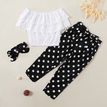 Fashionable Ruffle Collar Top and Polka Dots Pants Set