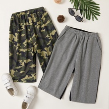 Trendy Kid Boy Camouflage Color Contrast Casual Shorts