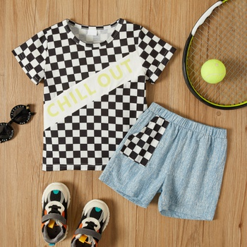 2-piece Toddler Boy Plaid Tee and Shorts Set