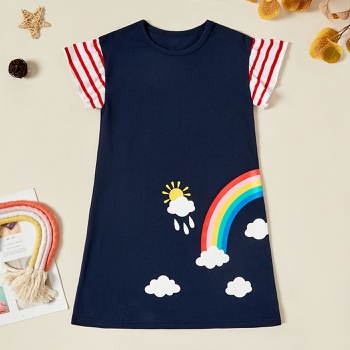 Kids Girl Rainbow Print Striped Dress