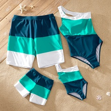 Color Block One-piece One Shoulder Family Matching Swimsuits