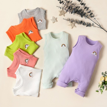 Baby Boy / Girl Solid Knitted Sleeveless Jumpsuit