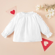 1pc Baby Girl Long-sleeve Solid Cotton elegant Shirt & Smock