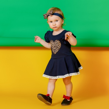 2-piece Baby Leopard Heart Print Lace Dress Bodysuit with Headband Set