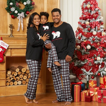 Family Matching Lovely Bear Wearing Christmas Hat Pajamas Sets (Flame Resistant)