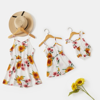 Mommy and Me Sunflower Print Sling Rompers