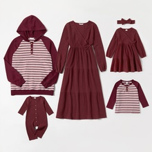 Mosaic Family Matching Cotton Autumn/Winter Sets(V-neck Dresses - Hoodies Sweatshirts - Rompers)